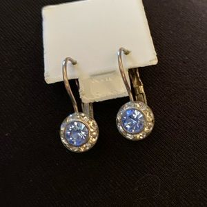 ⚡️Silver tone, blue crystal, rhinestone earrings